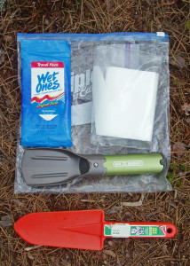 "Carry a kit like this in your backpack whenever you head for the woods. The orange plastic trowel is cheap and light, the ""iPood"" trowel is sturdier and more compact."