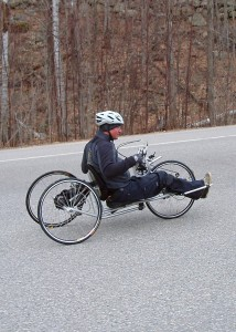 Even if you legs no longer work you can still cycle. Geoff Krill, the winter sports director at New England Disabled=