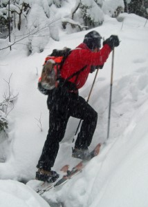 Get your weight forward when climbing a steep bank on snowshoes.
