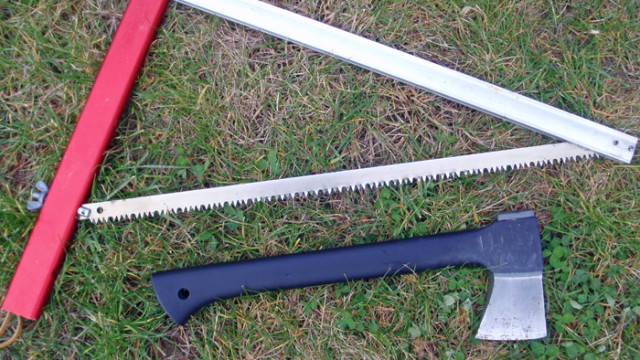 A Sven Saw and a Gerber Camp Axe make short work of the chore of gathering firewood where there are dead branches and downed trees.