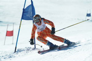 This racer is honing GS skills at Stratton Mountain, VT. (Stratton Mountain Photo).