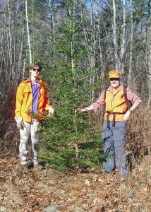 Proud hunters with their trophy. The other trees growing too-near this handsome spruce are glad it's gone. (Photo by Marilyn Donnelly)