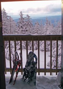 Sunrise view. When the snowstorm ended in the night, it left this idyllic winter scene to be viewed through the front door of the High Cabin on Mount Cardigan. (Tim Jones photo)
