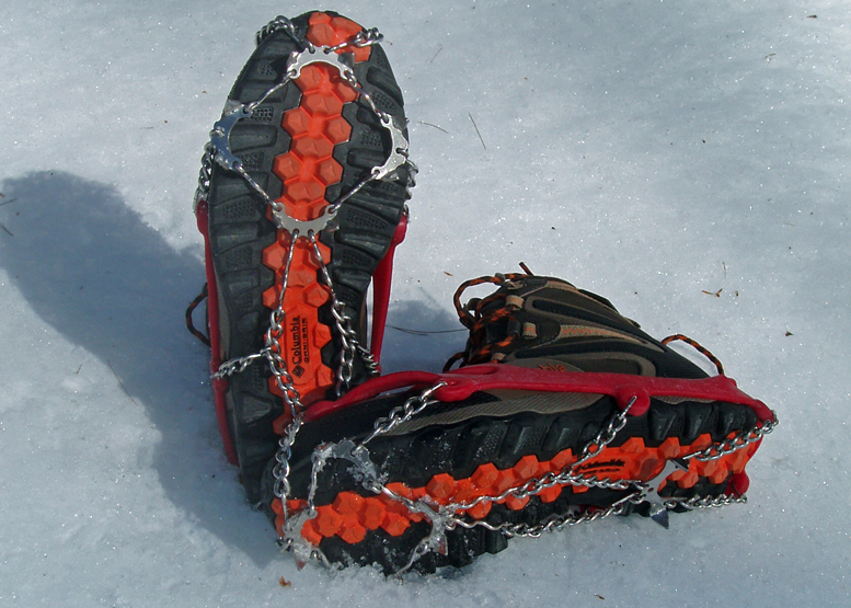 Winter Hiking Traction Aids In Action