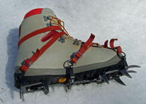 Beautiful to look at, and still very functional on steep terrain, these hand-made vintage crampons are really overkill for most winter trail hiking.