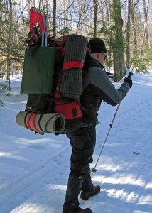 Winter packs are big and heavy--something to consider when you are planning how far to travel on your winter camping adventures.  We walked six miles each way, including two miles on snowshoes-- next time we'll do less . . . (David Shedd photo)