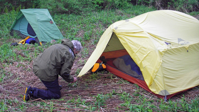 Setting up a tent can be second nature, and can bring you closer to nature, too. Modern tents are weatherproof and bug proof. (David Shedd photo)