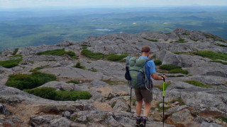 If you hike south to north, these are your first steps on the Greenway which starts at the top of Mount Monadnock. (Tim Jones photo)