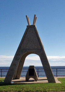 This waterfront monument in Mashteuiatsh celebrates the Native heritage of that community. The museum nearby was still closed as we pedaled through early in the morning.