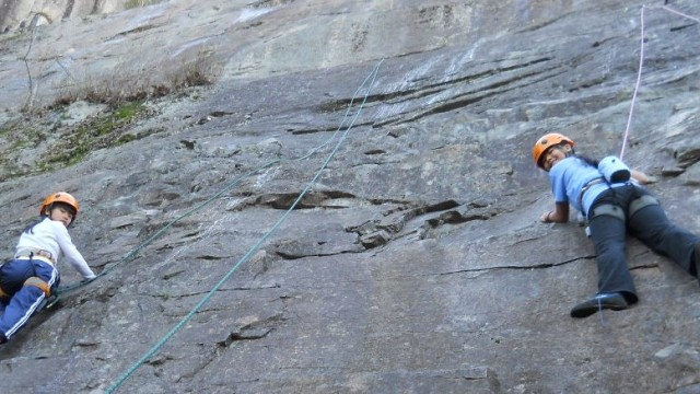 We ended the day with both Kim Han and Calli Fuller climbing together.  Photo by Marti Mayne.
