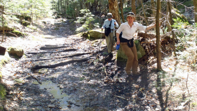 Bad Trail Etiquette: By trying to keep their feet dry avoiding a wet spot in the trail, these two hikers are making the trail worse. If you want to hike in wet conditions, be prepared to walk directly in water and mud. (Tim Jones photo)