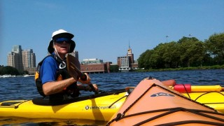 Steve shared his knowledge of the river and city's wonderful. He's been paddling for over 40 years! (Caroline McDonald/EasternSlopes.com photo)