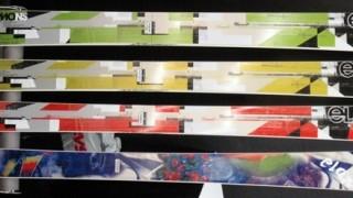 Elan wide skis horizontal