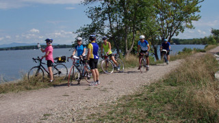 Even after an 18-mile ride in the morning, most of the group pedaled out to see the view on the spectacular causeway across Lake Champlain, part of the Island Line Bike Trail. (Tim Jones photo)
