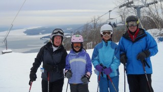 The very happy Fuller-Mayne clan atop Owl's Head in Canada's Eastern Townships (courtesy photo)