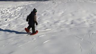 Max testing snowshoes (Tim Jones/EasternSlopes.com)