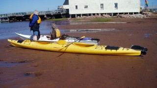 Here Tim teaches us how to manage the two-person sea kayak - especially the steering.