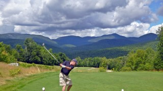 The views from Sunday River Golf Club are stunning; and somewhere on the mountains in the distance is where I would be spending the night!