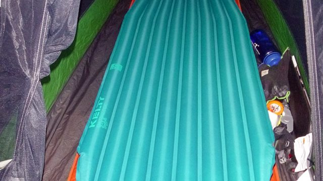 The Kelty PDa is lighter, packs smaller, and is more comfortable than a standard self-inflating mattress pad. (EasternSlopes.com photo)