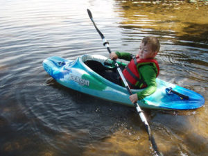Max Goodin practicing paddle strokes in a Jackson Fun 1. Great form for a 4-year-old! (Kate Goodin/EasternSlopes.com)