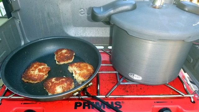 We never would have dreamed of taking a pressure cooker on a camping trip, but the GSI Halulite 5.7L changed our mind, our eating habits, AND our fishing habits! (EasternSlopes.com)