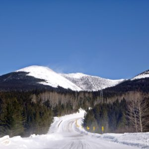 View driving through Quebec's Chic-Choc mountains