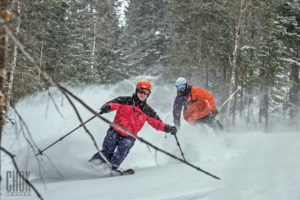 After a couple of days skiing Mont York, with the help of Alexi and the other skiers, even the author was skiing deep powder and steep tree runs with more confidence and speed, and FUN. (Benoit Bisson, CHOK Images)