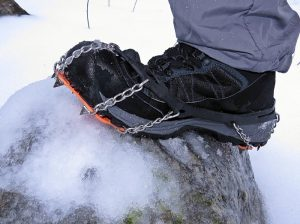 "One test of winter hiking boots is whether they allow you to get the best out of traction aids. The Treksta Cape Mid GTX got an ""A"" on that test. (EasternSlopes.com)"