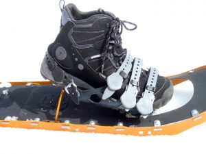 It takes a special boot to work when you're carrying heavy loads on large snowshoes. The Treksta Cape Mid GTX did it well, at a bargain price. (EasternSlopes.com)