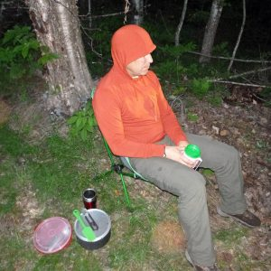 One of our favorites for sitting in camp in bug-infested areas was the Oudoor Research Echo Hoody with ISYOC treatment. Light, comfortable, and with the hood the bugs really had almost no way to get at us. (EasternSlopes.com)